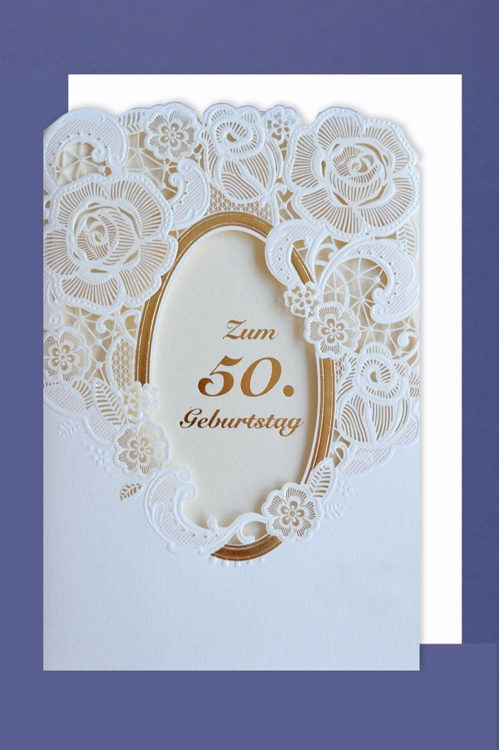 Laser Grußkarte 50 Geburtstag Lasercut Heißfolie Blumen Ornament 16x11cm
