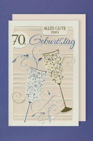 Laser Grußkarte 70 Geburtstag Lasercut Heißfolie Sektgläser Gold Silber 16x11cm