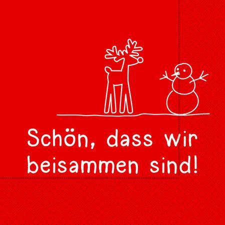 Servietten Weihnachten Winter Prägung Motiv Text Schön beisammen 20er Packung 3-lagig 33x33cm