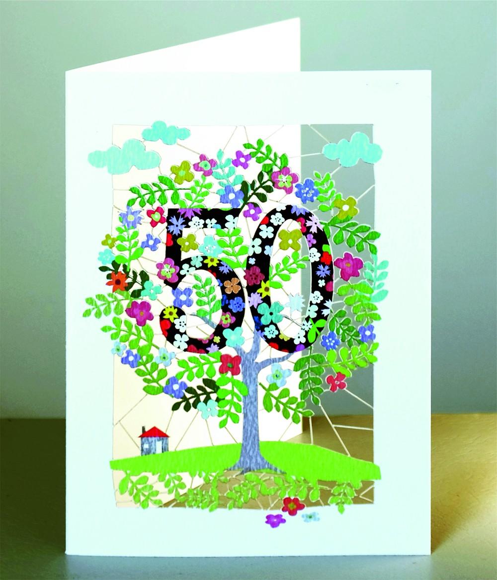 50 Geburtstag Laser Cut Karte 3d Geburtstagskarte Blumen Lebensbaum