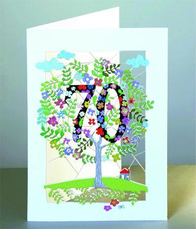 70 Geburtstag Laser Cut Karte 3D Geburtstagskarte Blumen Lebensbaum 16x11cm