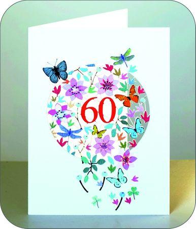 60 Geburtstag Laserschnitt Kunst Karte 3D Blumen Schmetterlinge 16x11cm