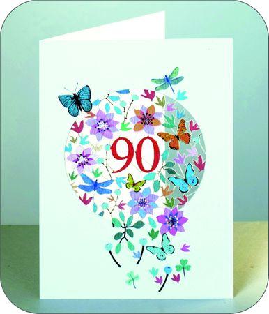90 Geburtstag Laserschnitt Kunst Karte 3D Blumen Schmetterlinge 16x11cm