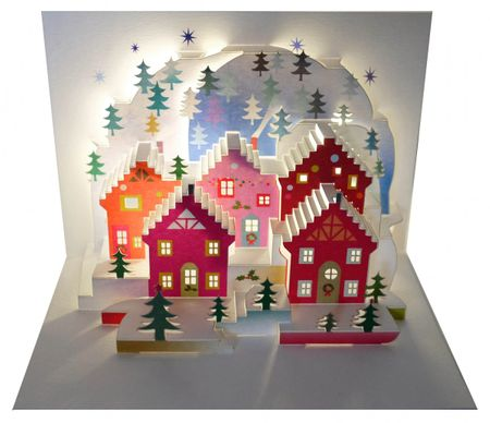 WE Pop Up 3D Karte Weihnachten Advent Grußkarte Weihnachtsstadt mit Tannen 16x11cm