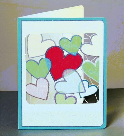 Herz Laser Cut Karte 3D Grußkarte Viele Herzen fliegen in den Wolken 14x11cm