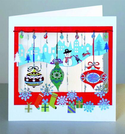 Weihnachten Glitter Laser Cut Karte 3D Grußkarte Schneemann Winterlandschaft 15x15cm