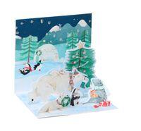 Pop Up 3D Weihnachts Mini Grußkarte PopShot Arktis Tierwelt Winter 7,6x7,6cm