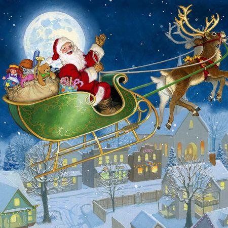Pop Up 3D Weihnachts Mini Grußkarte PopShot Rentierschlitten im Mondlicht 7,6x7,6cm