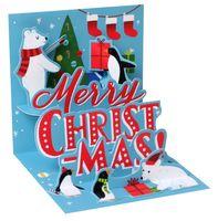 Pop Up 3D Weihnachts Mini Grußkarte PopShot Eisbär im Winter 7,6x7,6cm