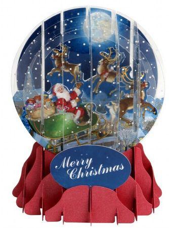 Pop Up 3D Weihnachten Schneekugel Grußkarte Rentier Schlitten im Mondlicht 9x13cm