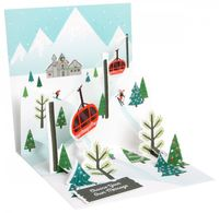 Pop Up 3D Weihnachten Karte PopShot Winter Berglandschaft 13x13 cm