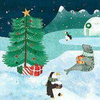 Pop Up 3D Weihnachten Karte PopShot Arktis Winterwelt 13x13 cm