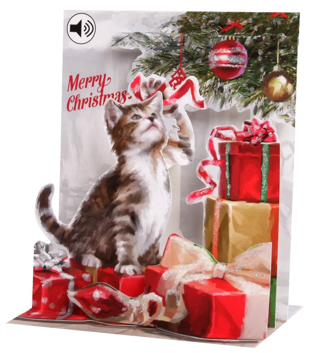 SOUND Pop Up 3D Weihnachten Karte PopShot Katze mit Geschenken 18x13 cm