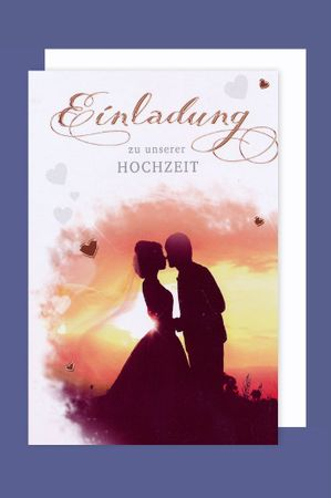 Hochzeit Einladung Karte 5er Mehrstückpackung Traumpaar Morgenrot 15x11cm