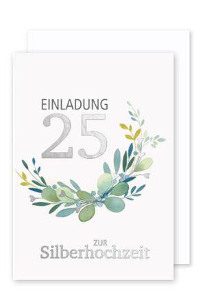 Silberhochzeit 25 Einladung Karte 5er Mehrstückpackung Herz mit Ringen 15x11cm