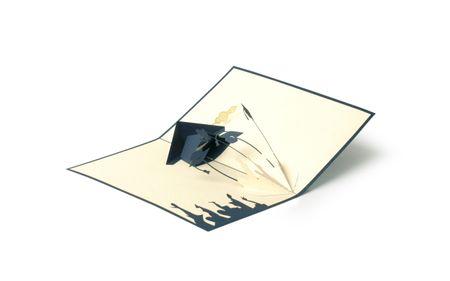 Prüfung 3-D Pop Up Grußkarte Examen Bestanden Doktorhut Handmade 15x15cm