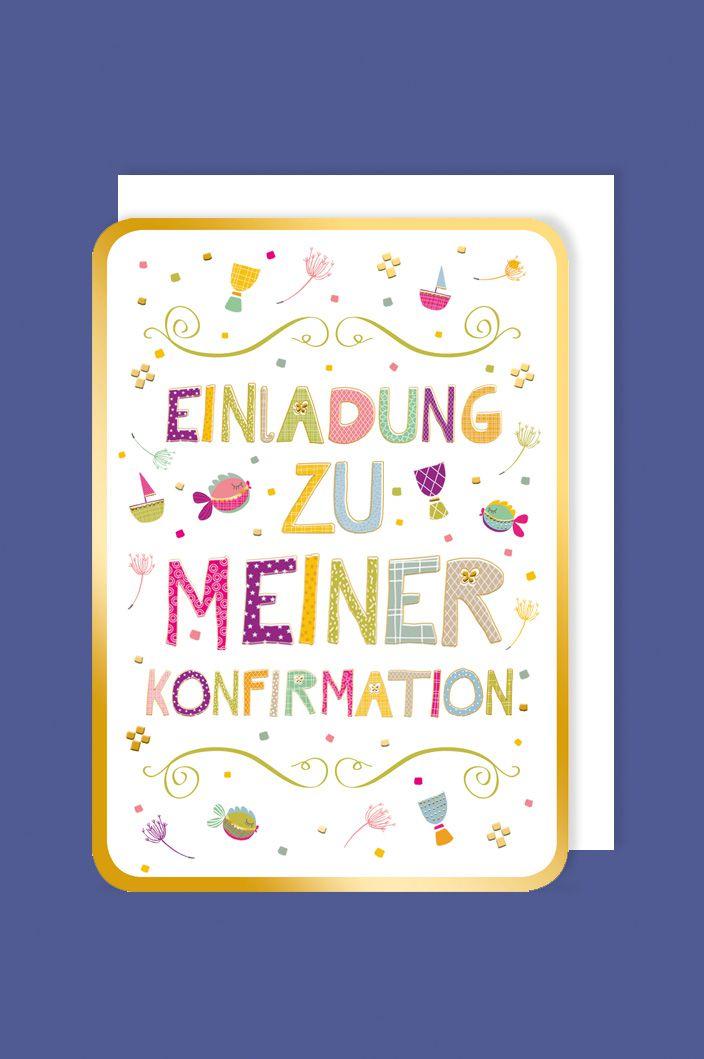 Konfirmation Einladung Karte 5er Mehrstückpackung Bunte Folien Schrift 15x11cm