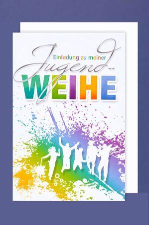 Jugendweihe Einladung Karte 5er Mehrstückpackung Menschen feiern 15 x 11cm