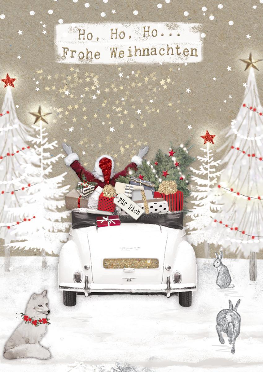 Ho Ho Ho Frohe Weihnachten.Weihnachten Grusskarte Swarovski Elements Handmade Popshot Nikolaus Auto 21x16cm Popshot