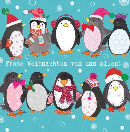 Weihnachten Grußkarte Swarovski Elements Handmade PopShot Lustige Pinguine 8x8cm