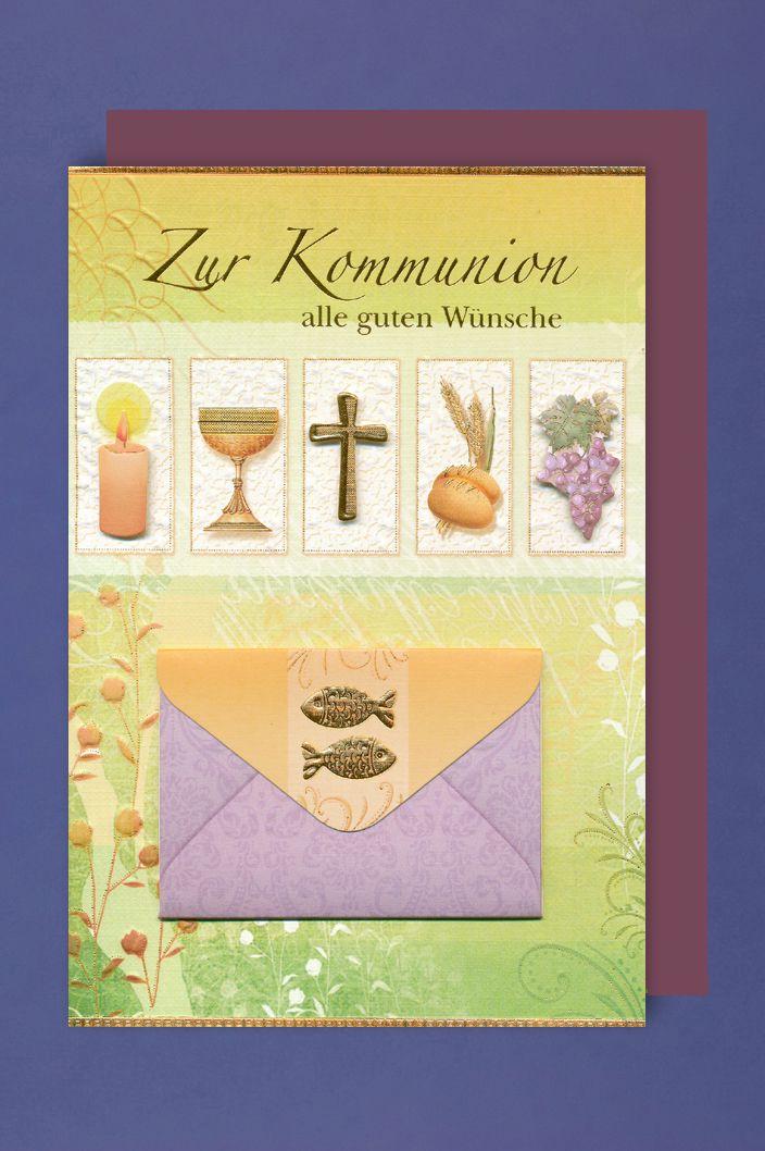 Kommunion Geldkarte Karte Grußkarte Kerze Kelch Kreuz Brot Wein 16x11cm