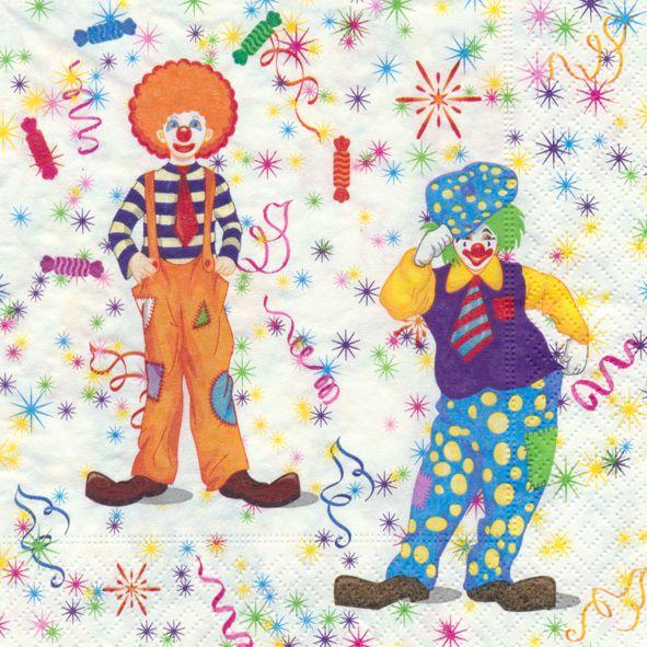 Servietten Prägung Kinder Geburtstag Clowns Zirkus 20 Stück 3-lagig 33x33cm