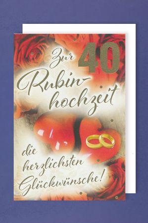Rubin Hochzeit 40 Grußkarte Herzen Ringe Rosen 16x11cm