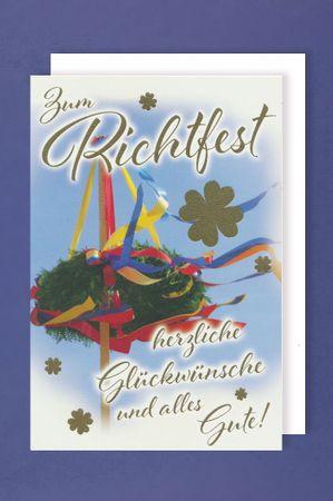 Richtfest Karte Grußkarte Glückwunsch Dach mit Richtkranz 16x11cm