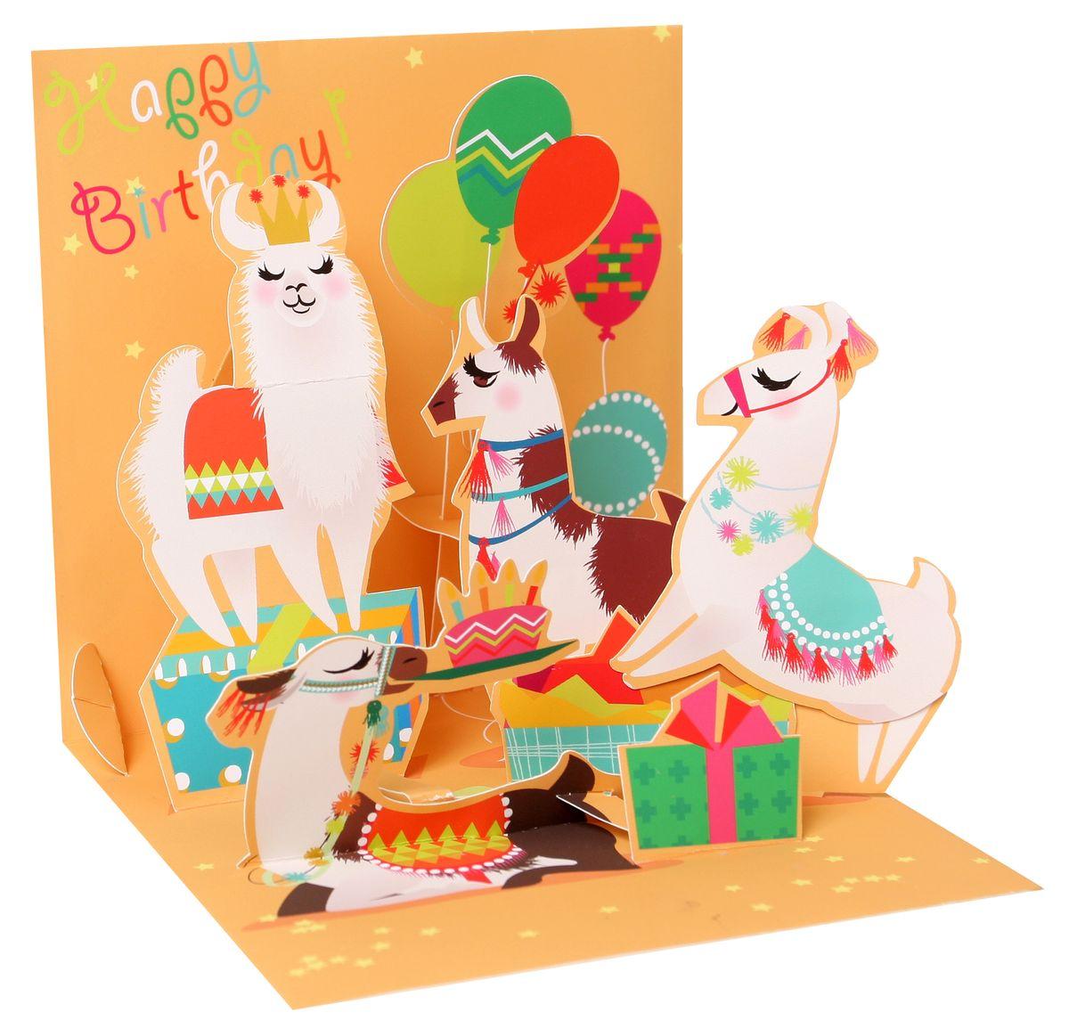 Pop Up 3d Karte Geburtstag Grußkarte Lustige Tiere Rund Ums Lama
