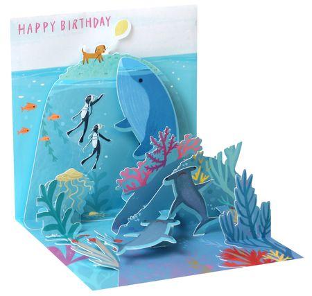 Pop Up 3D Karte Geburtstag Grußkarte Delphin schwimmt im Meer 13x13cm