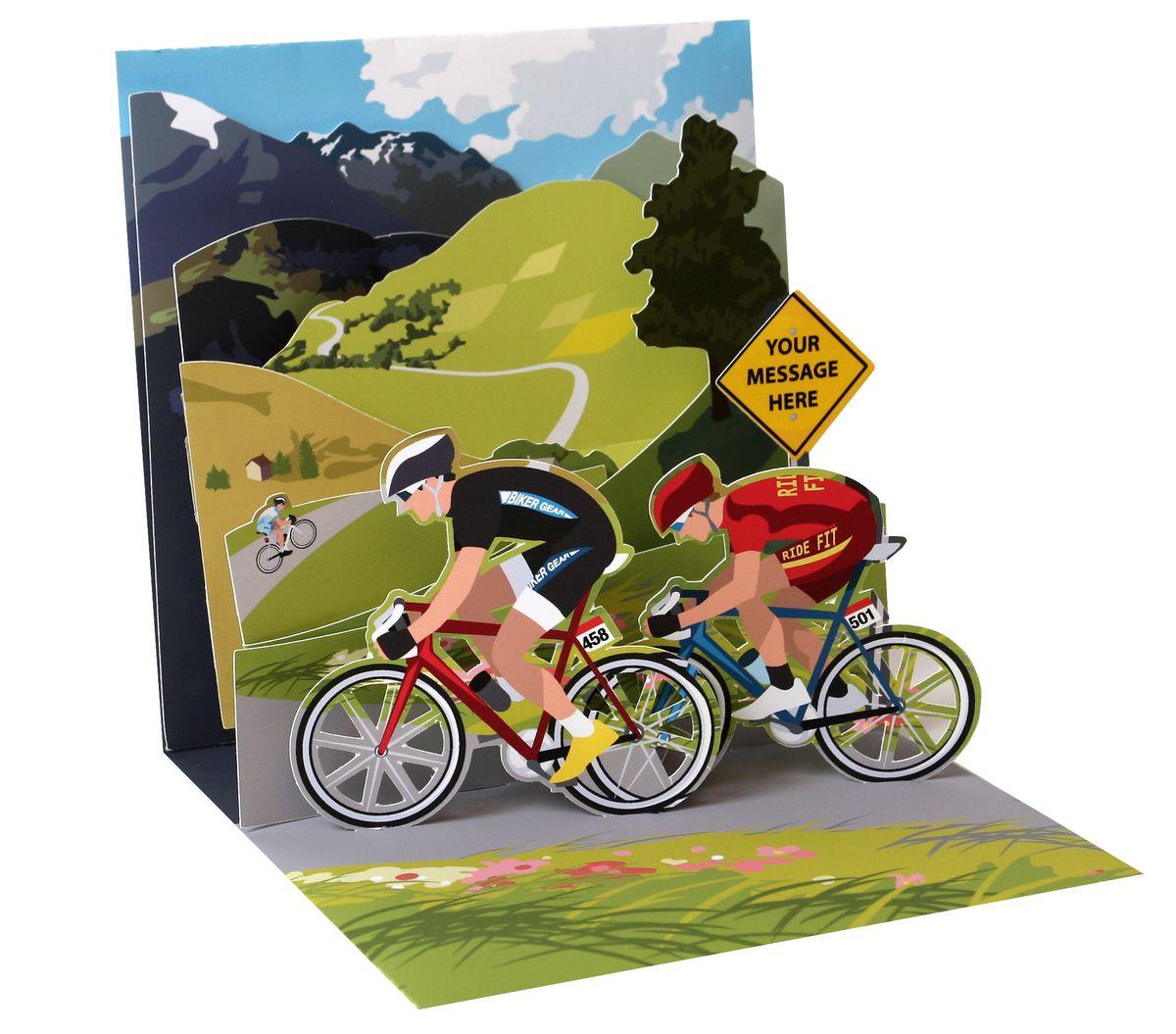 pop up 3d karte geburtstag gru karte fahrrad tour berge 13x13cm. Black Bedroom Furniture Sets. Home Design Ideas