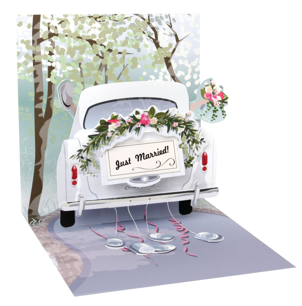 Pop Up 3D Karte Hochzeit Grußkarte Honeymoon Auto 13x13cm