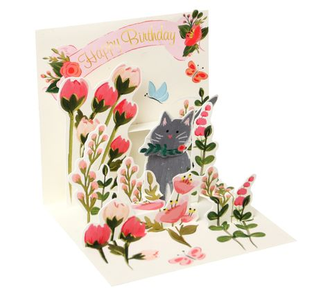Pop UP 3D Karte Geburtstag Mini Grußkarte Botanischer Garten 7,6x7,6cm