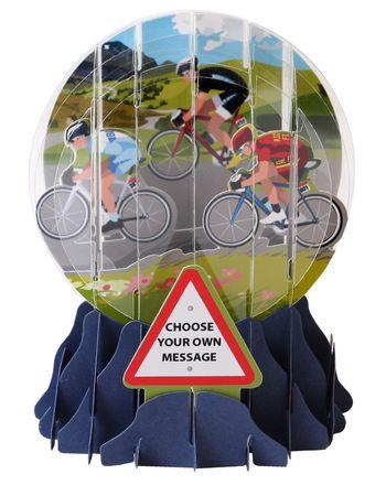 Schneekugel Karte Geburtstag Grußkarte PopShot Fahrrad Rennen 9x13cm