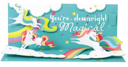 Pop Up 3D Panorama Karte Geburtstag Grußkarte Unicorn Einhorn 10x23cm