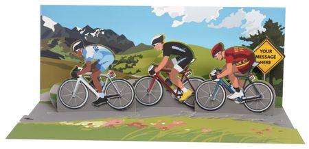 Pop Up 3D Panorama Karte Geburtstag Grußkarte Fahrrad Rennen 10x23 cm