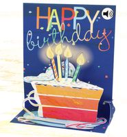 SOUND Pop Up 3D Karte Geburtstag Musik Happy Birthday Kuchen 18x13cm