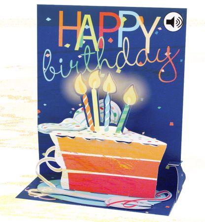 SOUND Pop Up 3D Karte Geburtstag Musik Happy Birthday Kuchen 18x13cm