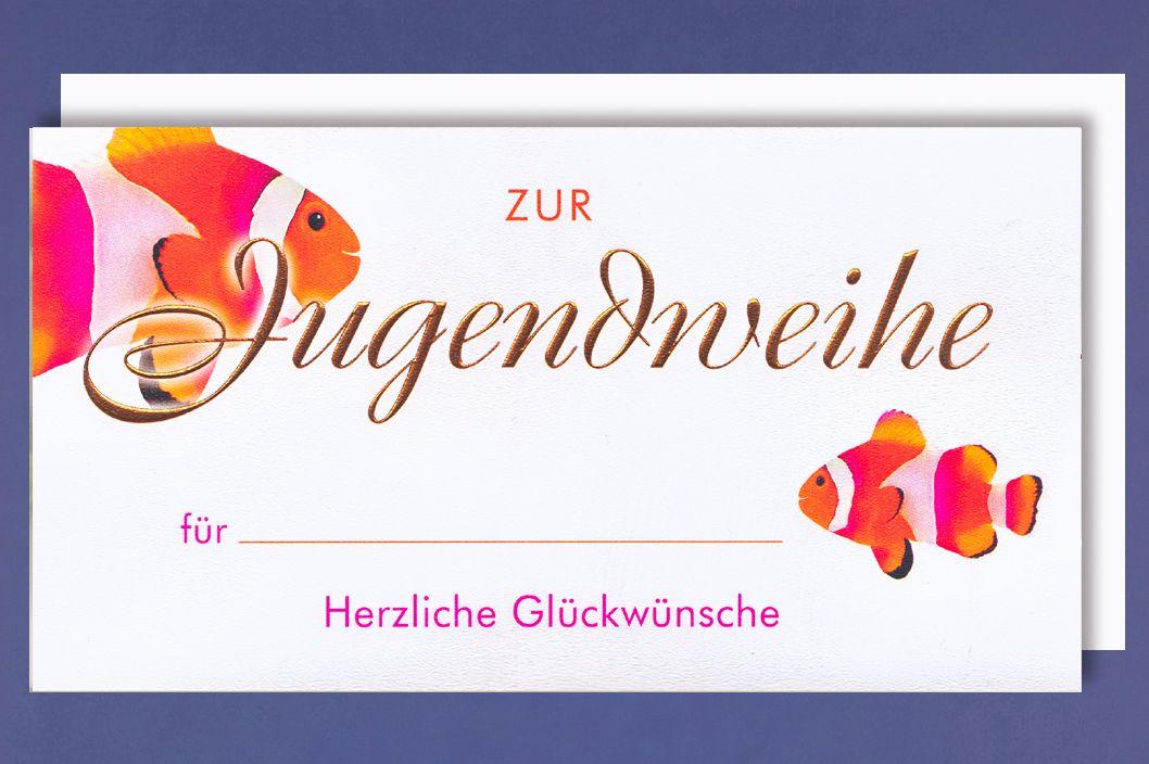 Urkunde Jugendweihe A4 Karte Grußkarte Fisch Foliendruck 30x20cm