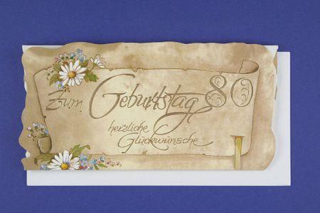 Urkunde 80 Geburtstag A4 Karte Grußkarte Pergament Look Foliendruck