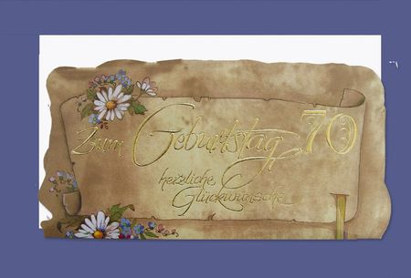 Urkunde 70 Geburtstag A4 Karte Grußkarte Pergament Look Foliendruck