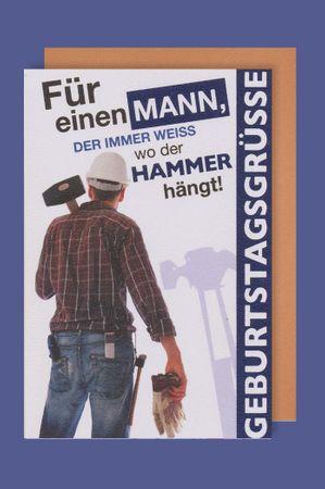 Männer Karte Geburtstag Heimwerker Hammer 16x11cm