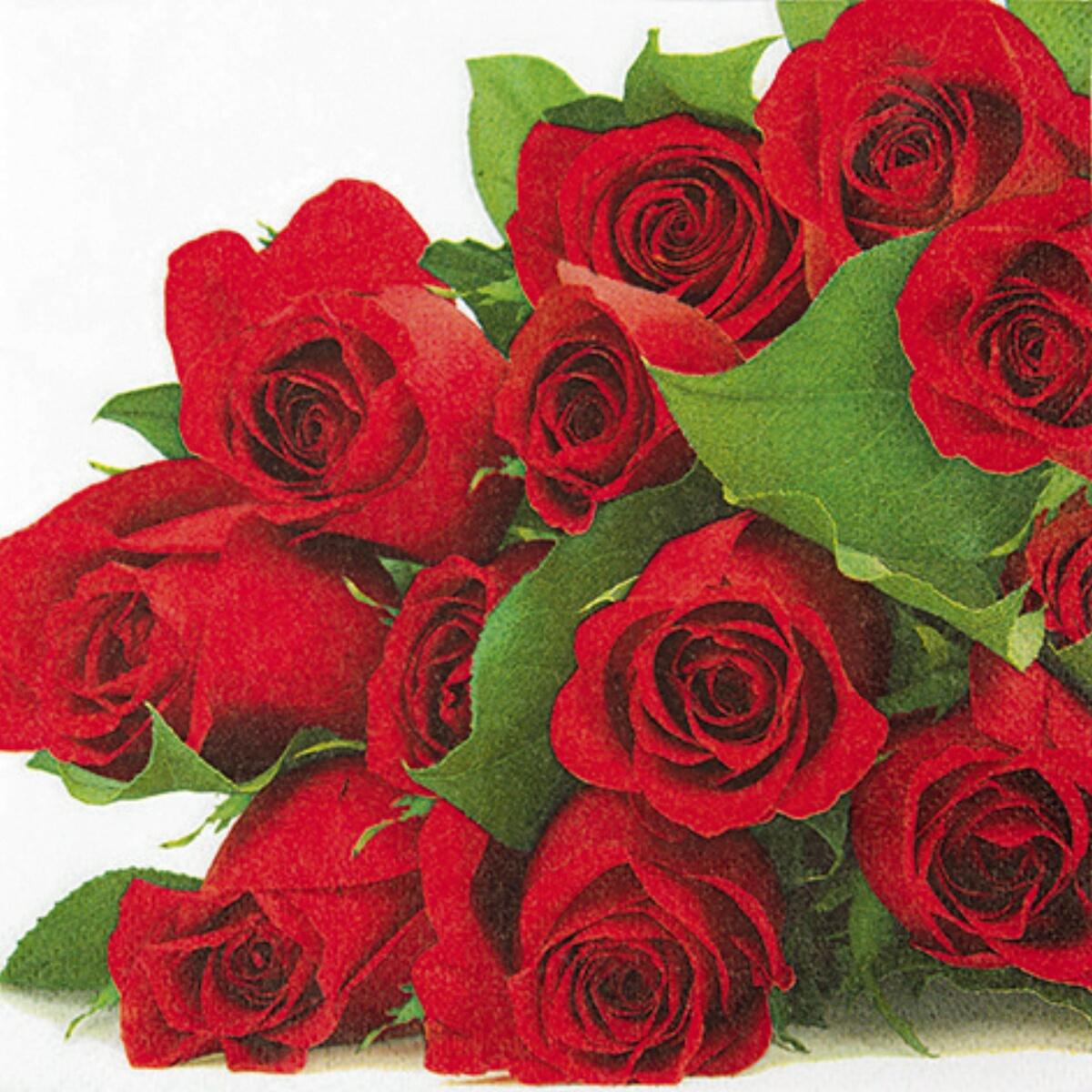 Servietten Pragung Geburtstag Rosen Blumenstrauss 20 Stuck 3 Lagig