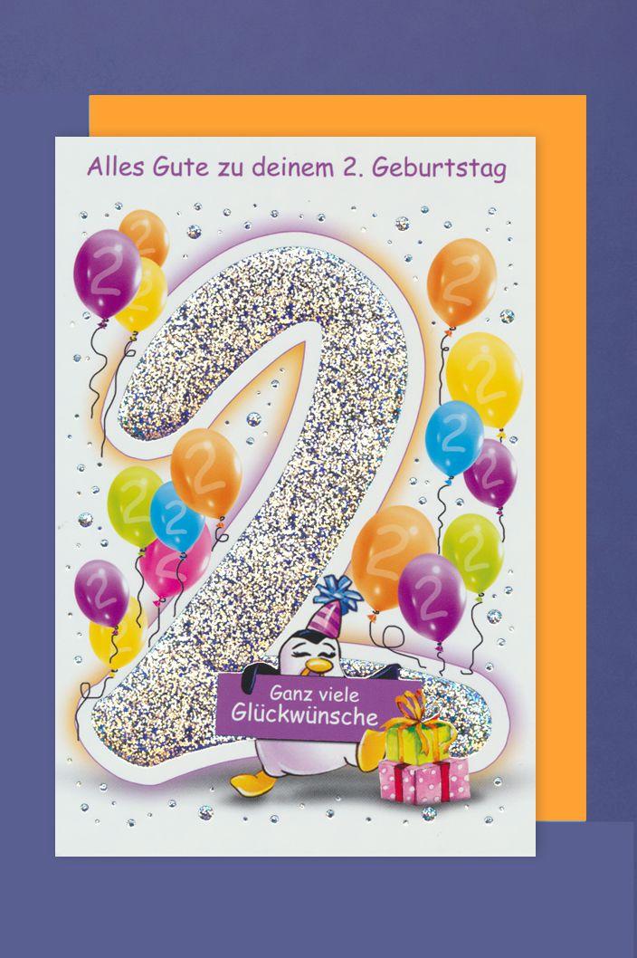 Grusskarte 2 Geburtstag Karte Kinder Ballons Glitzer Druck 16x11cm