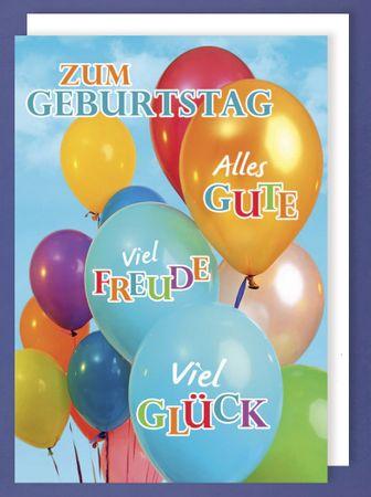 Riesen Grußkarte Geburtstag Karte Himmels Luftballons Freude Glück A4