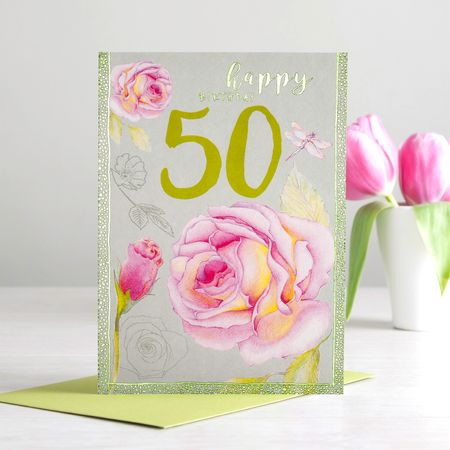 Geburtstag 50 Grußkarte Rose Happy Birthday Foliendruck 12x17cm