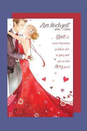 Hochzeit Karte Grußkarte Rotes Hochzeitskleid Glitter 16x11cm