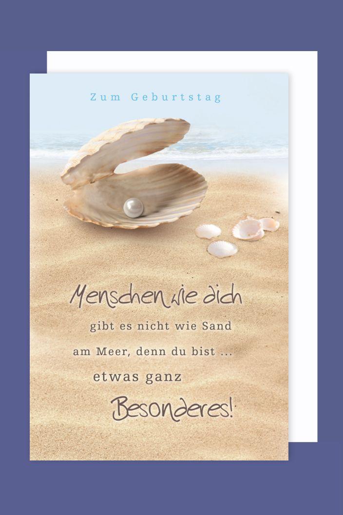 Maritim Geburtstag Karte Grußkarte Muschel mit Perle 16x11cm