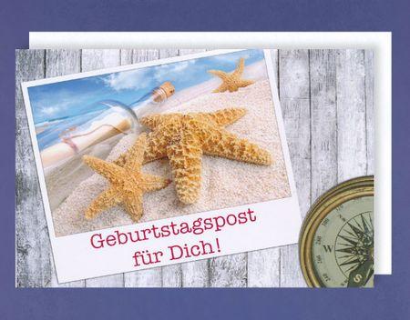 Maritim Geburtstag Karte Grußkarte Seestern Urlaub Strand 16x11cm