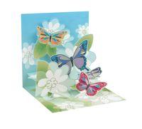 Pop Up 3D Karte Geburtstag Schmetterlinge Blumen Gesundheit 13x13cm